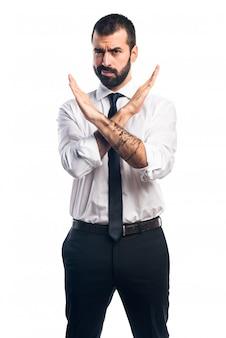 Businessman doing no gesture