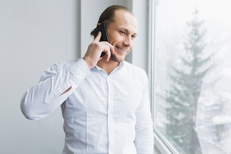 Businessman doing phone call