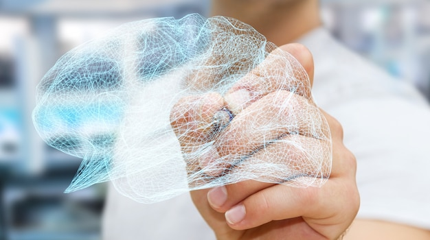 Businessman drawing digital x-ray human brain in his hand 3d rendering