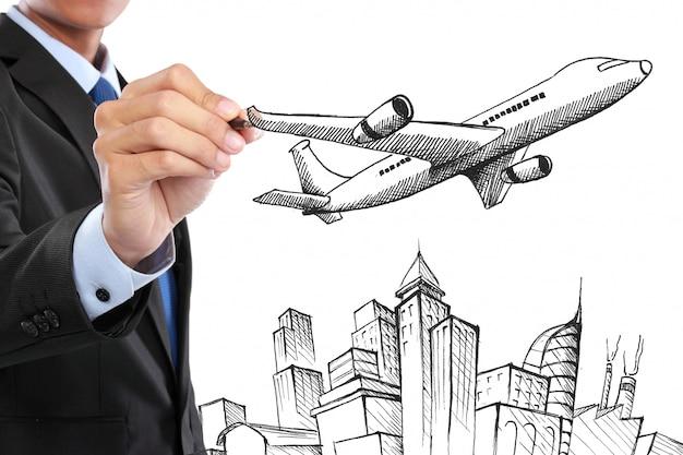 Businessman drawing modern global business concept