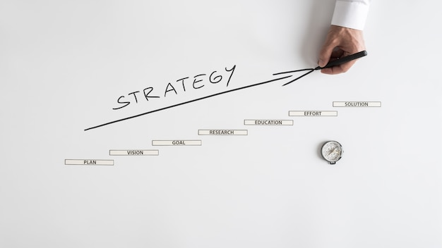 Businessman drawing upward arrow and strategy handwritten over white background with steps
