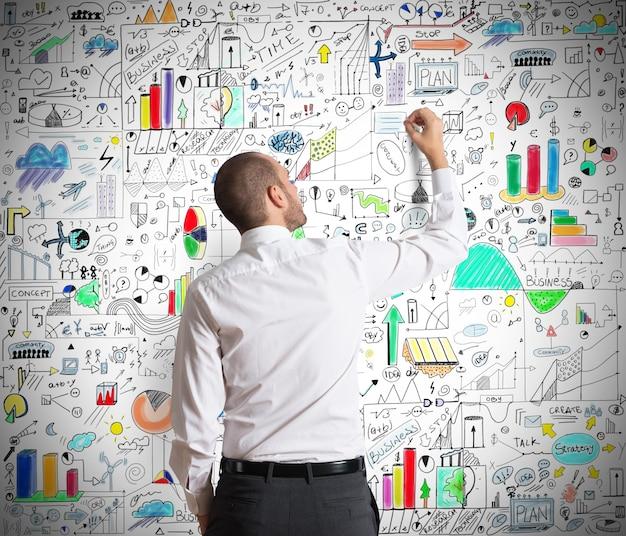 Бизнесмен рисует на стене бизнес-проектов