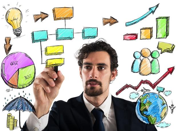 Бизнесмен рисует план и проект бизнес-анализа