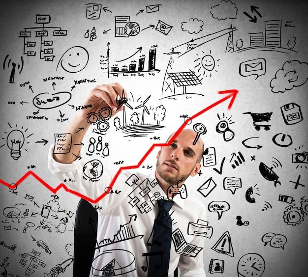 ビジネスマンは、ビジネス分析の計画とプロジェクトを描きます