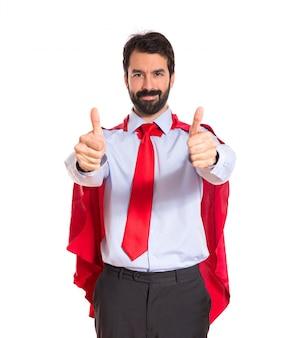 엄지 손가락 최대 슈퍼 히어로처럼 입고 사업가