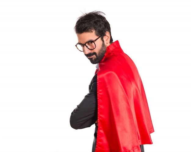 Uomo d'affari vestito come supereroe