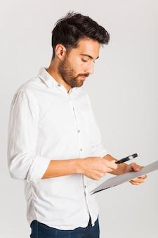 Businessman examinating documents