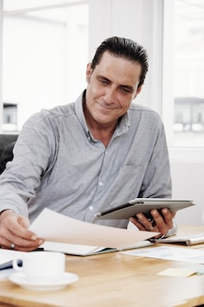 Businessman examining document