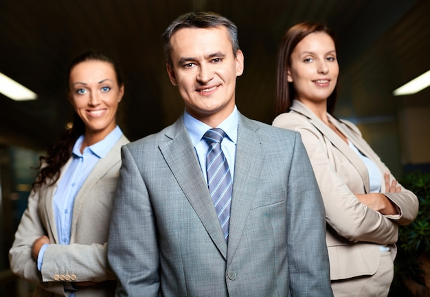 Businessman feeling confident in his team Free Photo