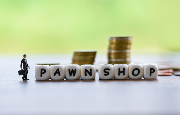 Businessman financial borrow loan pawn for cash with coin
