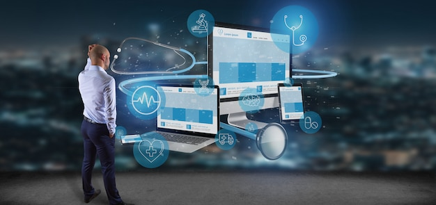 Businessman in front of devices with medical icon and stethoscope 3d rendering