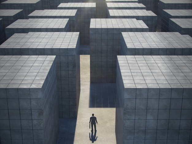 Businessman in front of a huge maze, top view. 3d rendering.