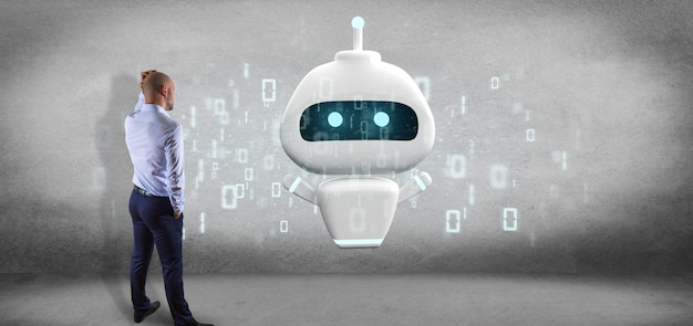 Businessman in front of a wall with chatbot with binary code 3d rendering