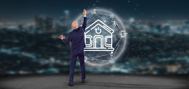 Businessman in front of a wall with smart home interface with icon, stats and data 3d rendering