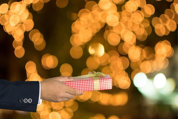 Businessman giving gift