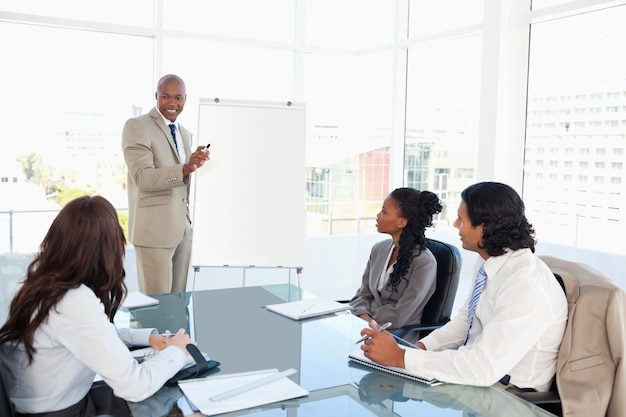 Businessman giving a presentation in front of his colleagues