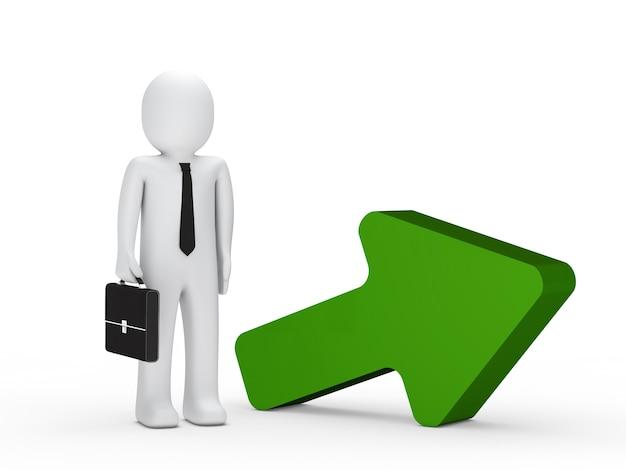 Businessman next to a green arrow