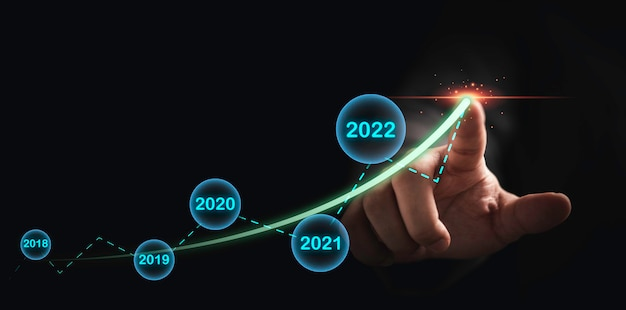 Businessman hand drawing up green arrow for business and investment up increase with year on dark background.
