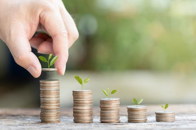 実業家の手にコインで植物を育てる