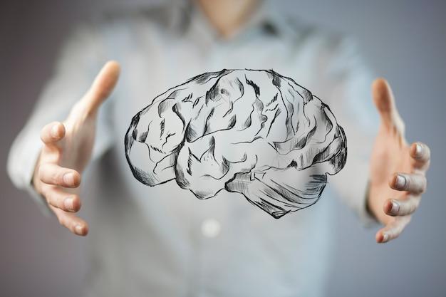 脳を持つビジネスマン手