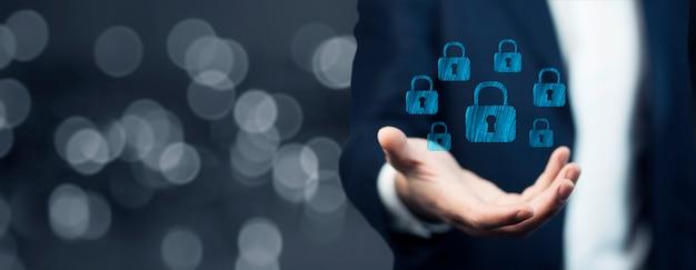 Businessman hand locks in screen on white background