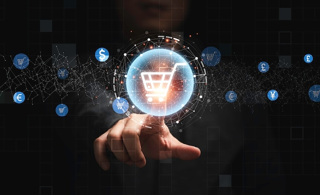 Businessman hand touching to virtual info graphics with trolley cart icons , technology online shopping business concept.