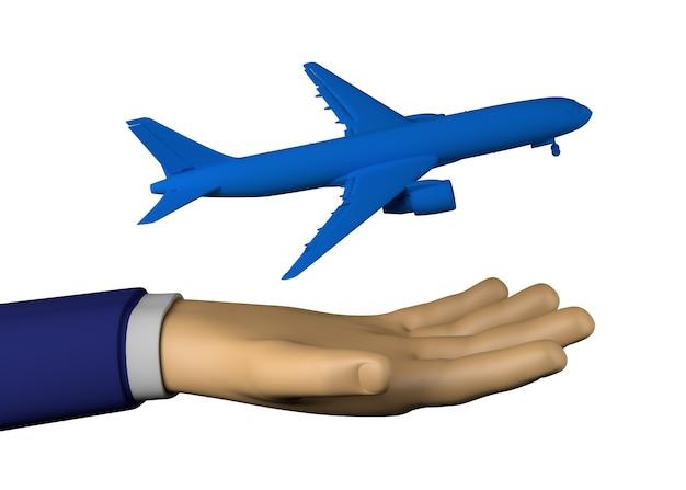 비행기와 사업가 손입니다. 여행하다. 3d 그림입니다.