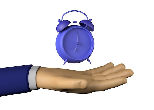 알람 시계와 사업가 손입니다. 일하다. 3d 그림입니다.