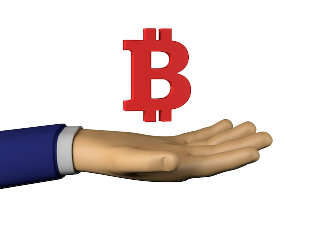 Bitcoin 기호 사업가 손입니다. 브로커. 3d 그림입니다.