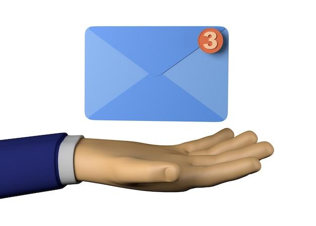 이메일 아이콘으로 사업가 손. 3d 그림입니다.