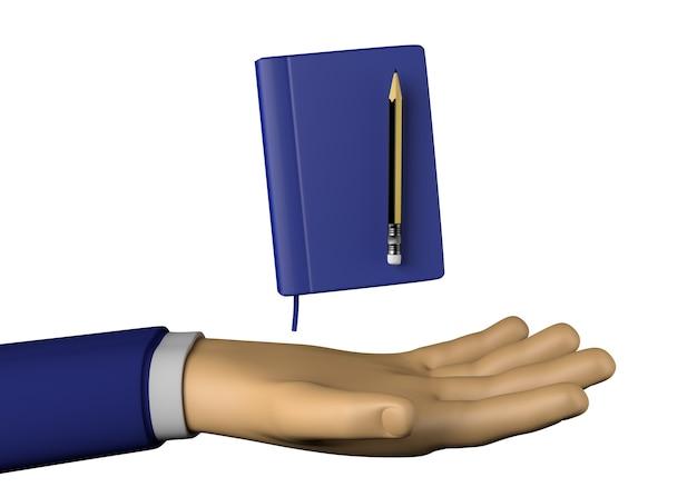 메모 책 또는 의제와 연필 사업가 손. 3d 그림입니다.
