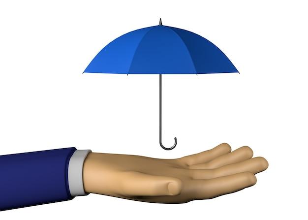 傘を持つビジネスマンの手。 3dイラスト。