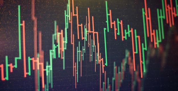사업가는 금 시장, 외환 시장 및 무역 시장에 대한 투자 차트를 분석하는 작업을 하고 있습니다.