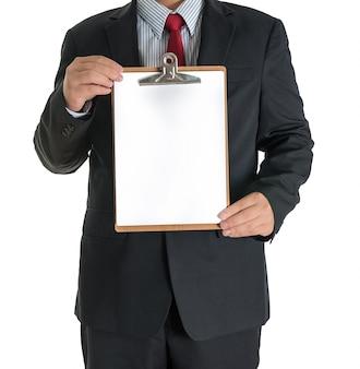 Businessman hands showing white blank board