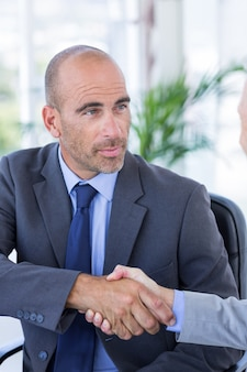 Businessman handshaking colleague