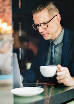 Businessman having a cup of coffee