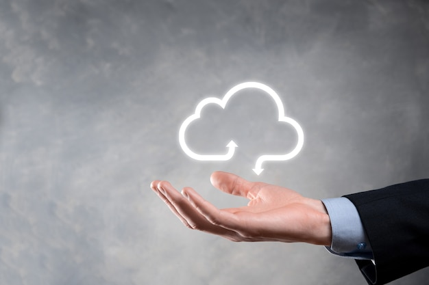 Businessman hold cloud icon