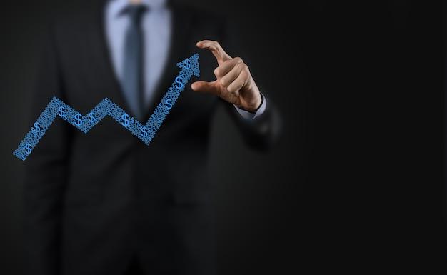 사업 성장 그래프, 긍정적 인 성장 icon.pointing 위쪽 화살표와 함께 창조적 인 비즈니스 차트에서 화살표 그림에 개최.