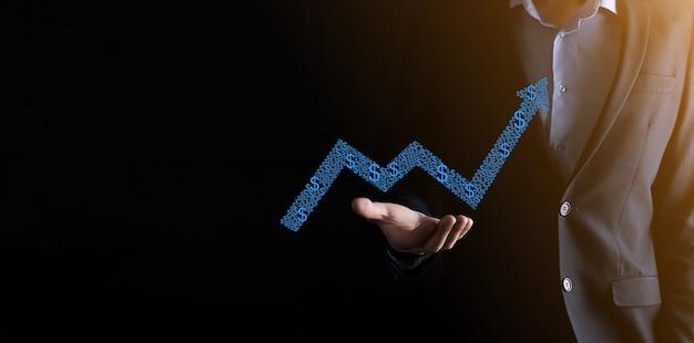 사업 성장 그래프, 긍정적 인 성장 아이콘의 화살표 화면에 그리기 개최