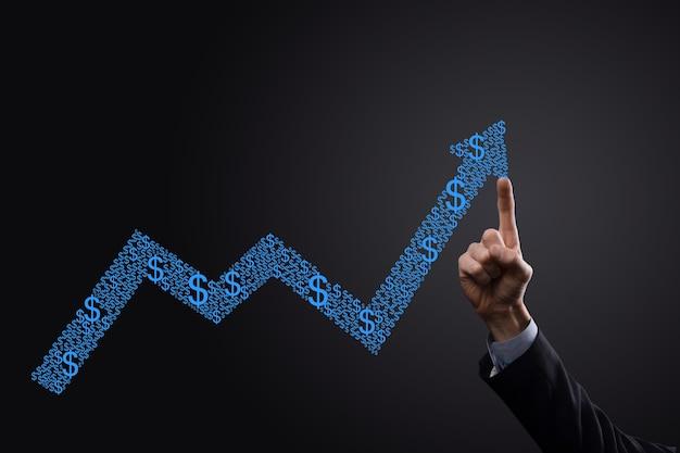사업 성장 그래프, 상승 화살표와 함께 창조적 인 비즈니스 차트에서 긍정적 인 성장 symbol.pointing의 화살표 화면에 그리기를 개최. 금융, 비즈니스 성장 개념입니다.
