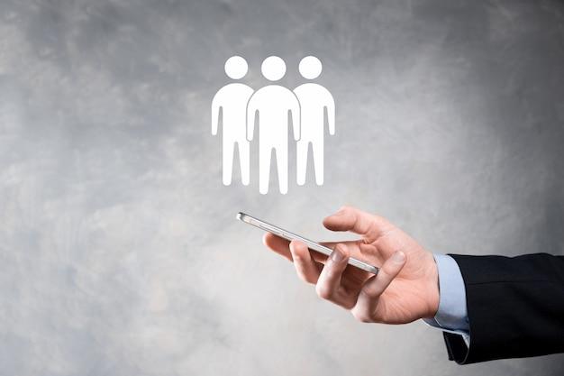 사업가 보류 팀웍 아이콘. 강력한 팀 구축. 사람 아이콘입니다. 인적 자원 및 관리 개념. 소셜 네트워킹, 평가 센터 개념, 개인 감사 또는 crm 개념.