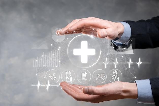 사업 개최 가상 플러스 의료 네트워크 연결 아이콘. covid-19 전염병은 사람들의 인식을 높이고 의료에 대한 관심을 전파합니다. 의사, 문서, 의학, 구급차, 환자 아이콘.
