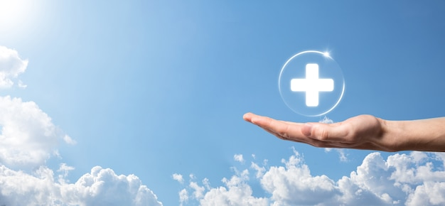 사업 개최 가상 플러스 의료 네트워크 연결 아이콘. covid-19 전염병은 사람들의 인식을 높이고 의료에 대한 관심을 확산시킵니다.