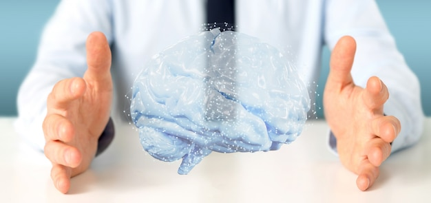Businessman holding a 3d rendering artificial brain