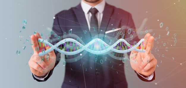 Businessman holding a 3d rendering data coded dna with binary file around