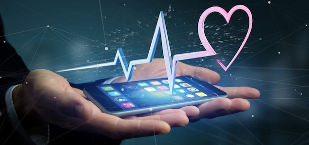 Businessman holding a 3d rendering medical heart curve