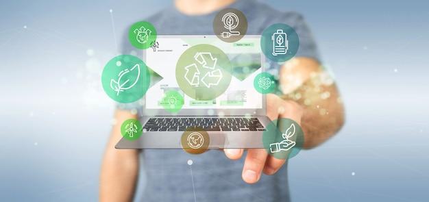 Бизнесмен держа облако зеленого пузыря значка экологичности с переводом компьтер-книжки 3d
