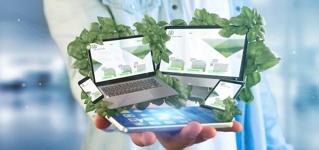 Бизнесмен держа подключенные устройства окружая перевод листьев 3d