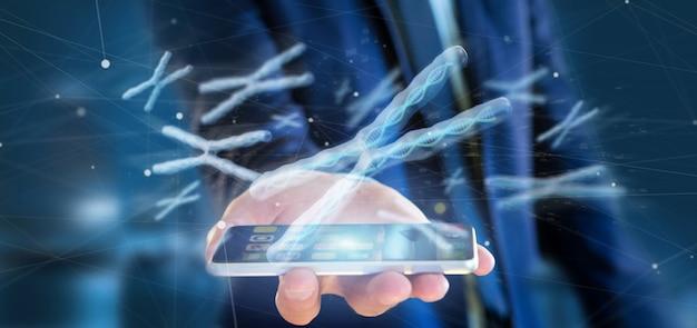 Бизнесмен, холдинг группы хромосом с днк внутри изолированных 3d-рендеринга