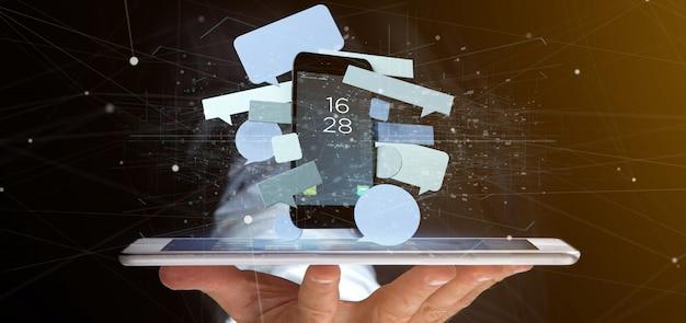Бизнесмен держа сообщения клокочет окружая перевод smartphone 3d